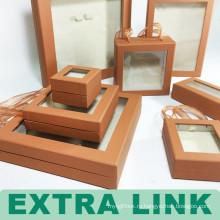 Дисплей крафт прозрачный ювелирные изделия чемодан коробка с ручкой тесемки
