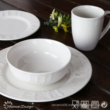 16PCS Embossed Ceramic Porcelain Dinner Set