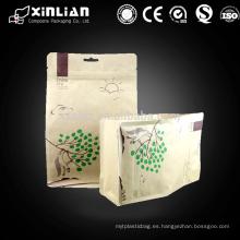Papel kraft de fondo plano / al / pe papel kraft bolsa de alimentos con cremallera