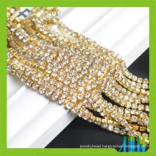 Super close rhinestone chain gold plated brass cup chain trim
