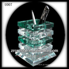 K9 suporte de caneta de cristal verde e branco