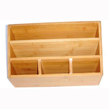 Bamboo stationery holder with 5 compartment