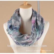 Цветочный печатных леди бесконечность шарф петли шарф с блестками украшения