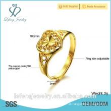Atacado de preço de alta polido antigo estilo banhado a ouro anel de coração do anel de casamento
