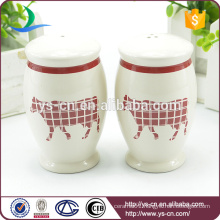 YSpp0009 Creative red calf round shape salt and pepper shaker for Europe