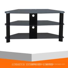 Table de télévision en verre à 3 niveaux avec matelas en aluminium fini Mate