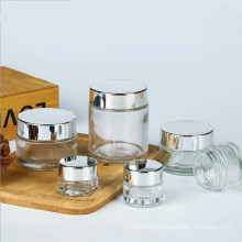 5ml 10ml 20ml 30ml 50ml 60ml 80ml 100ml Clear Cosmetic Glass Jar with Silver Lid 100ml Luxury Cosmetics Jar Glass Container