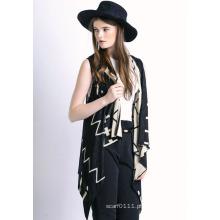 Senhora moda onda padrão mercerizado algodão malha xale colete (yky2039)