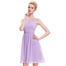 Starzz Above-Knee Sleeveless Beaded Chiffon Light Purple Party Dress Short Lilac Prom Dress Patterns ST000076-1