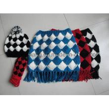 Wholesale Lady Winter Warm Knitted Acrylic Set