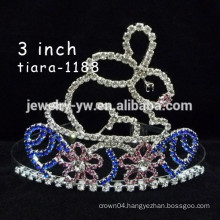 yiwu hair accessories silver plated crystal tiara rabbit ear headband