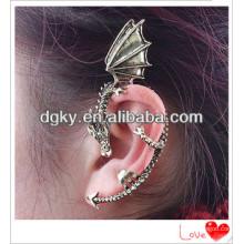 Alloy punk prata chapeado gótico jóia dragão orelha punho