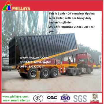 35ton 40feet Hydraulic Skeleton Container Tipping Semi Trailer