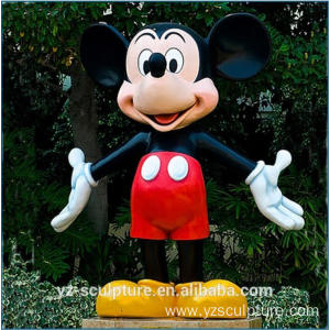 Fiberglass Life Size Mickey Mouse Sculpture for Garden
