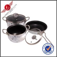 3 Stück Geschirr Emaille Kochgeschirr Set Sauce Pan