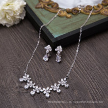 Boda Bridal Pendiente Cristal De Plata De Cristal Collar
