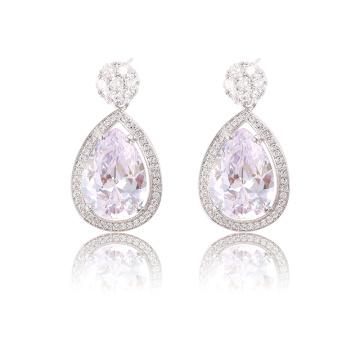 90969 xuping joyería de moda 2018 china tendencias productos de color de plata bijuteria mujeres zirconia pendientes cúbicos