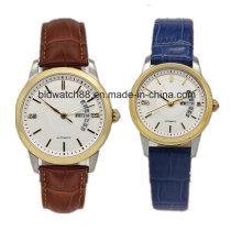 Mejor reloj de oro par de acero inoxidable para regalo amante