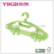 Conjunto de 5 pcs cabides de plástico com clipes, barra de calças e entalhes