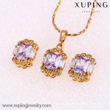 61946- Xuping Costume glass 18k jewelry set crystal