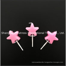 Factory Direct Sales No Drip Pink Star Shaped Birthday Candles on a Stick