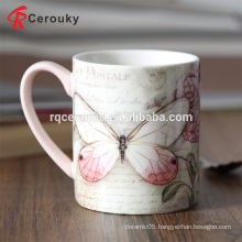 Full color printed butterfly 12oz ceramic porcelain mug