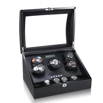 Black Carbon Fiber Watch Winder Storage 11 Jam