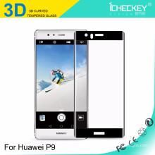 2016 Icheckey Mobile téléphones accessoires 3D courbé 9H protecteur d'écran en verre trempé flexible pour Huawei P9