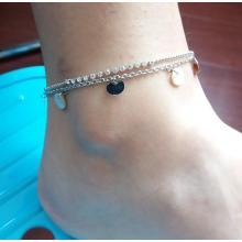 Double bracelet plaqué argent métallique de cheville avec pendentif circulaire