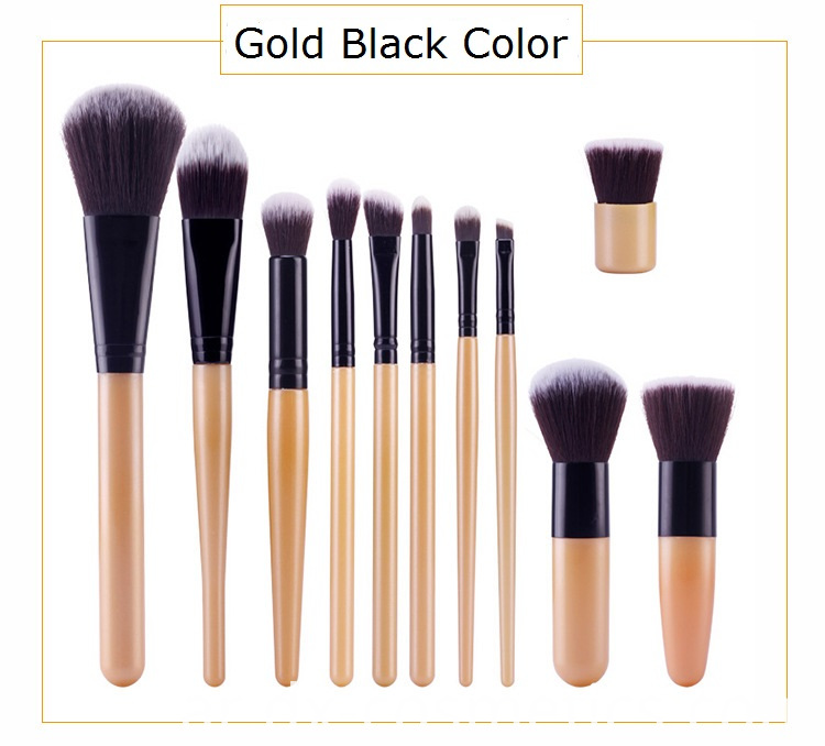 Gold Black Makeup Brush Set Color