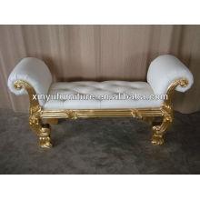 Classical gold wooden ottoman A009