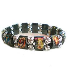 Hematite Saint Rosary Bracelet with Plastic Beads