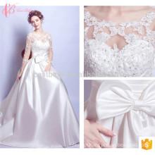 Manga comprida Voguish A Line Appliqued New Style Lace Wedding Dress
