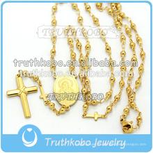 Вакуумный плакировкой золота высокого качества религиозные ювелирные изделия из нержавеющей стали мать Мария и Иисус крест ожерелье с 8мм четки