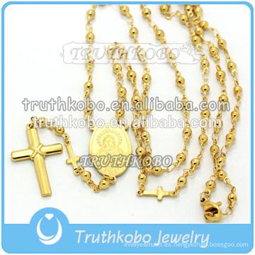 Collar María de cruz de acero inoxidable de alta calidad con joyería religiosa de oro de María María y Jesús con cuentas de rosario de 8 mm