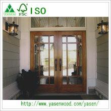 Puertas de entrada de alta calidad de alta calidad Puerta de doble hoja de madera francesa