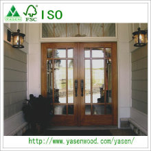 Portas de entrada de alta qualidade de entrada de alta qualidade Porta de folha dupla de madeira francesa