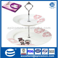 Hot Selling round shape 2 layers porcelain cake stand fiestaware