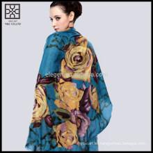 Moda de seda flor impresa bufanda