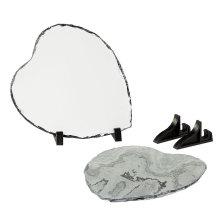 Superficie pulida Blanco corazón Foto Pizarra de roca