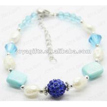 Moda 2012 Joya Blue Pearl shell frisado tornozeleira