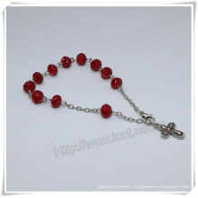 New Colourful Section Glass Beads Catholic Rosary Bracelet on Chain (IO-CB183)
