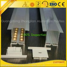 Perfil de alumínio anodizado 6063-T5 para tiras de LED