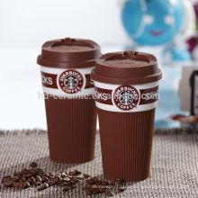 Keramische starbucks Schale mit Silikondeckel u. -verpackung, heißer Verkauf starbucks Kaffeetasse, Schale starbucks