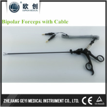 Fábrica diretamente endoscópio laparoscópico Pinça bipolar curvada isolada com cabo