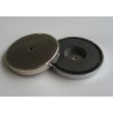 Nickel Coated Neodymium Female Thread Pot Magnet (UNI-Pot-io2)