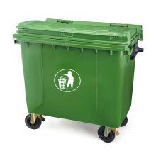 1100L Eco-Friendly Plastic Waste Bin with Two Wheels