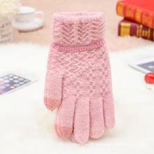 Hot Fashion Factory Großhandel Günstige Warme Gestrickte Benutzerdefinierte Nette Lustige Winter Frauen Gestrickte Wolle Handschuhe
