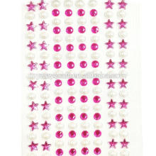Crystal Star and Pearl Stickers Adhesive Rhinestones Stickers Set