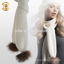 Genuine Raccoon Fur Pompom Plain Wool Crochet Scarf for Lady